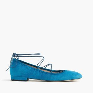 J.Crew Suede Lace-Up Flats Round Toe Blue
